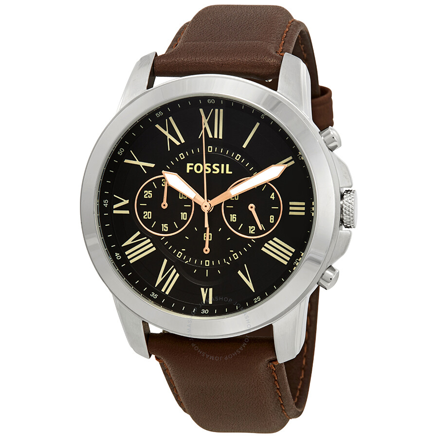 Fossil Grant Chronograph Black Dial Brown Leather Men S Watch Fs4813ie