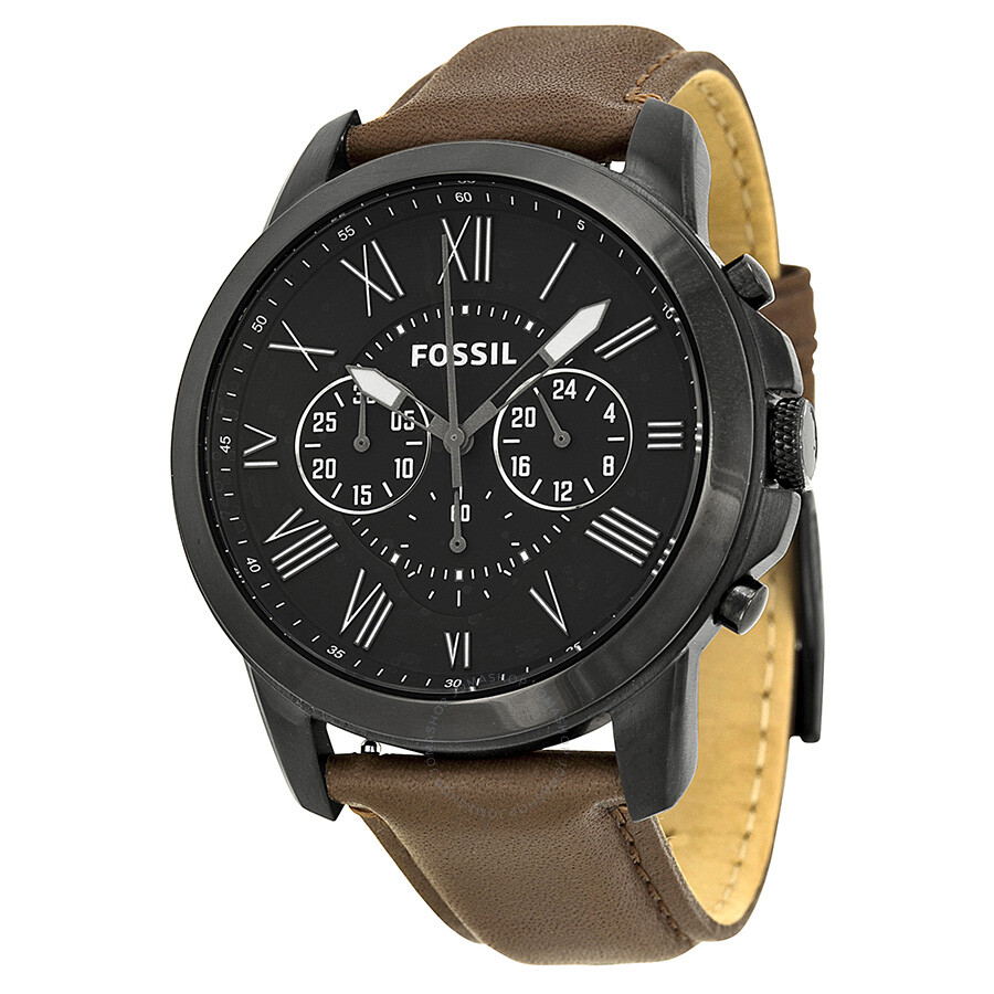Fossil grant chronograph black dial brown leather men 39 s watch fs4885 grant fossil watches for Fossil watches