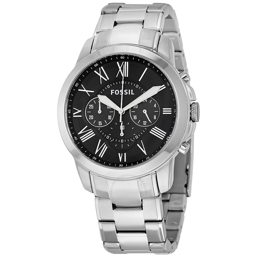 Fossil grant chronograph black dial stainless steel men 39 s watch fs4736 grant fossil for Stainless steel watch