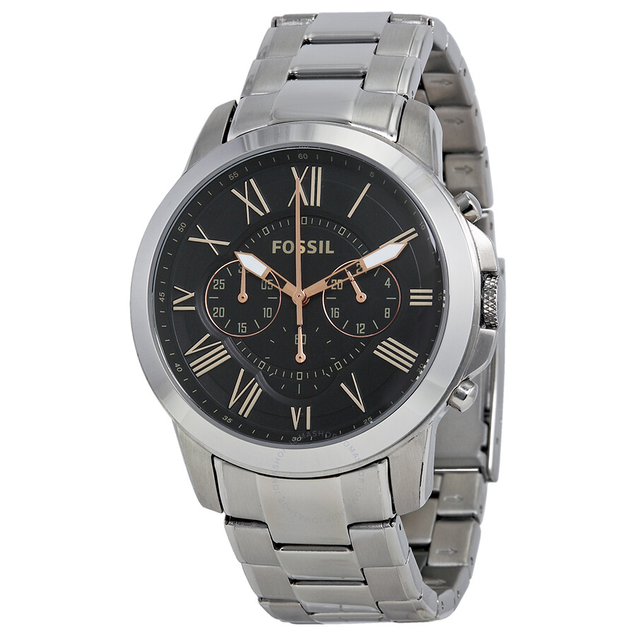 fossil grant chronograph black dial stainless steel men 39 s. Black Bedroom Furniture Sets. Home Design Ideas