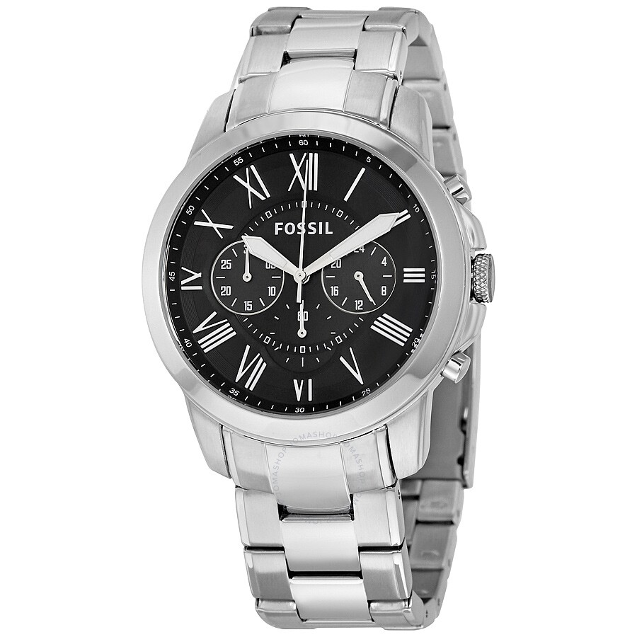 35e18ee7d Fossil Grant Chronograph Black Dial Stainless Steel Men's Watch FS4736IE ...