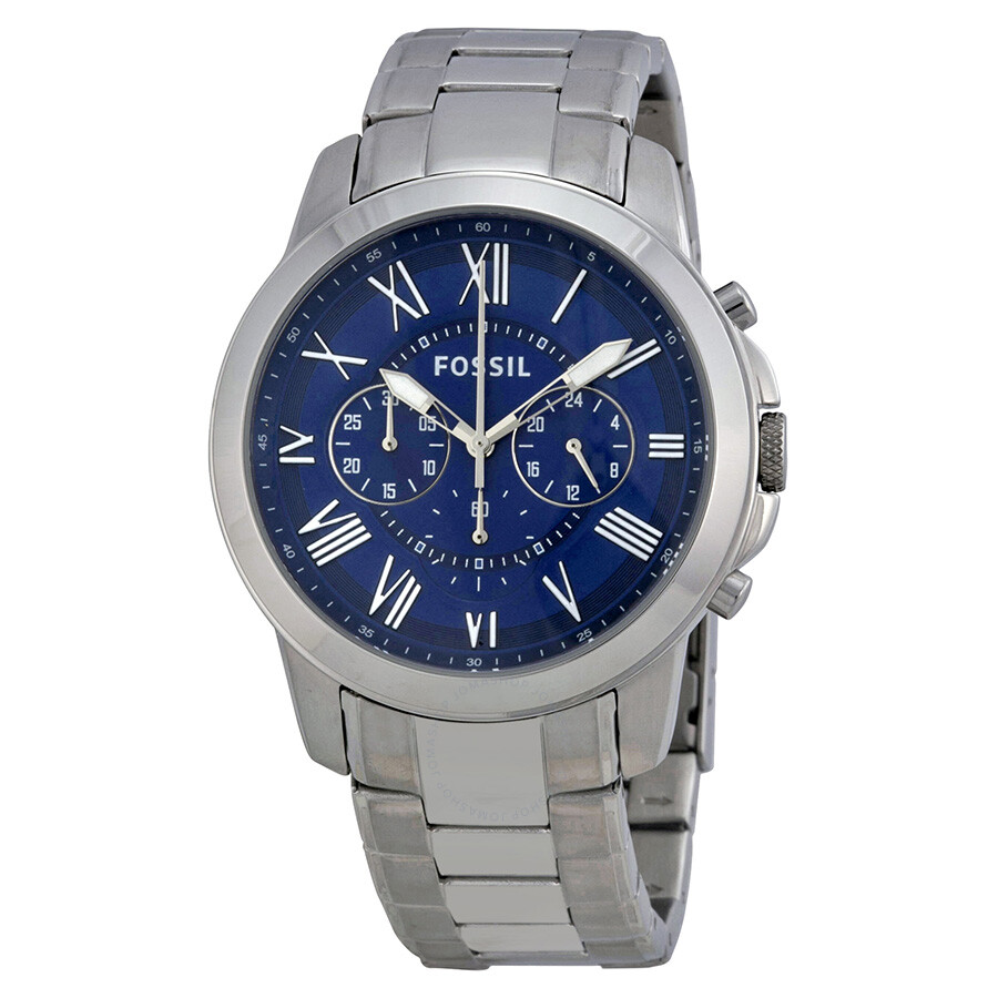 28852137f6e Fossil Grant Chronograph Blue Dial Stainless Steel Men S Watch