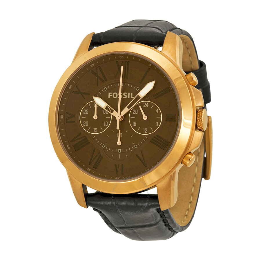 fossil grant chronograph brown dial black leather men 39 s. Black Bedroom Furniture Sets. Home Design Ideas