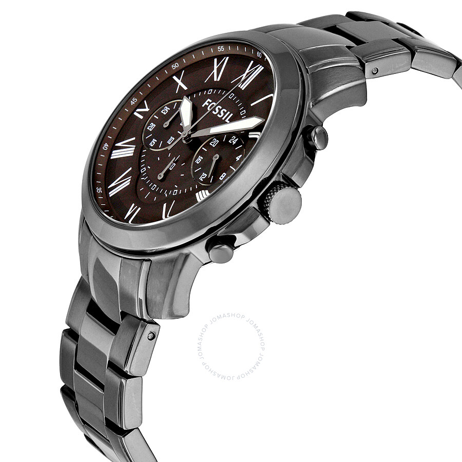 fossil grant chronograph brown dial grey ion plated men 39 s. Black Bedroom Furniture Sets. Home Design Ideas