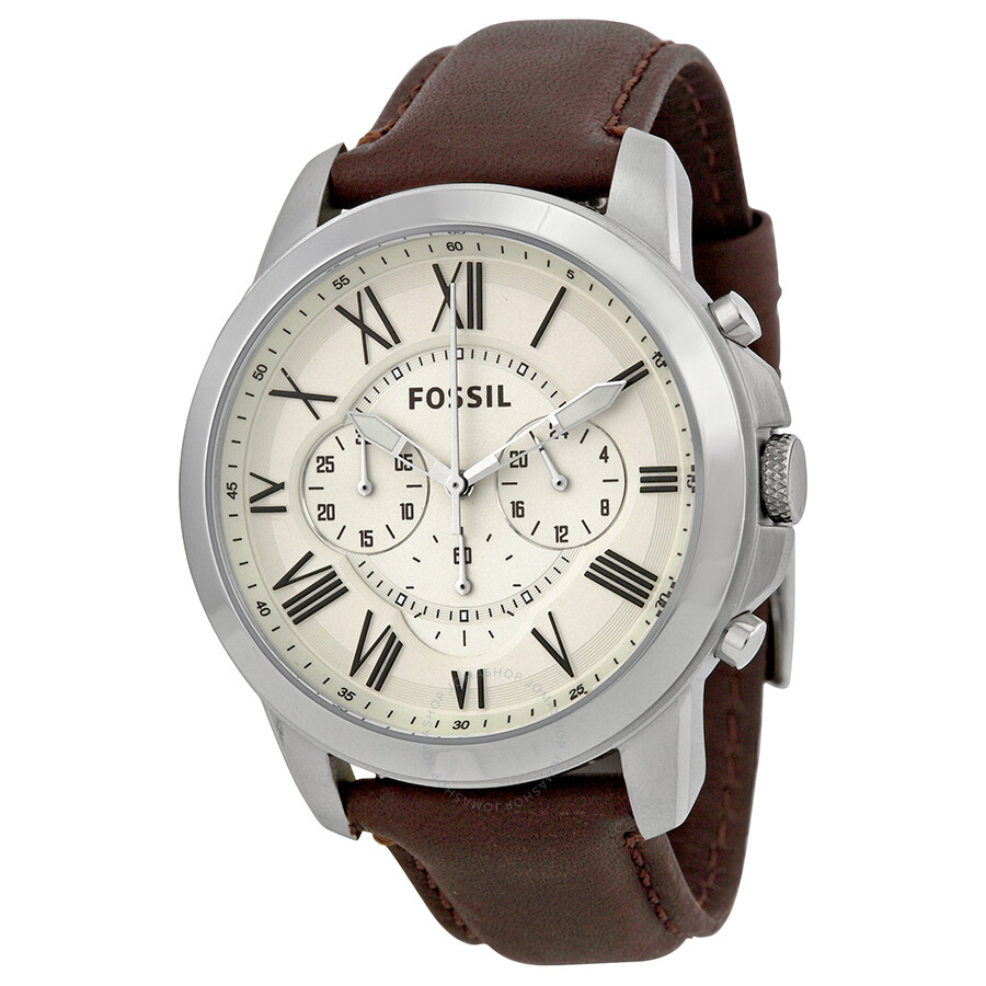 Fossil Grant Chronograph Egg Shell Dial Men's Watch FS4735 ...