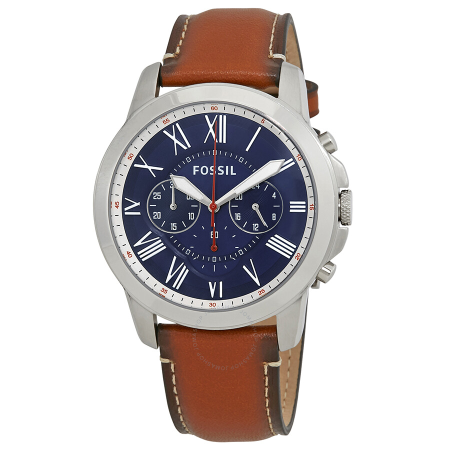 c0b4e429457 Fossil Grant Chronograph Navy Blue Dial Men s Watch FS5210 - Grant ...