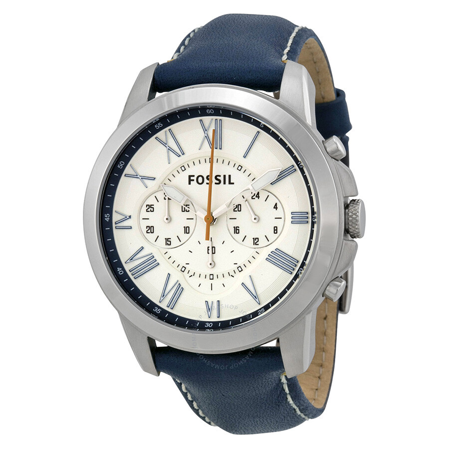 ef5c3b60a Fossil Grant Chronograph White Dial Blue Leather Men's Watch FS4925 ...