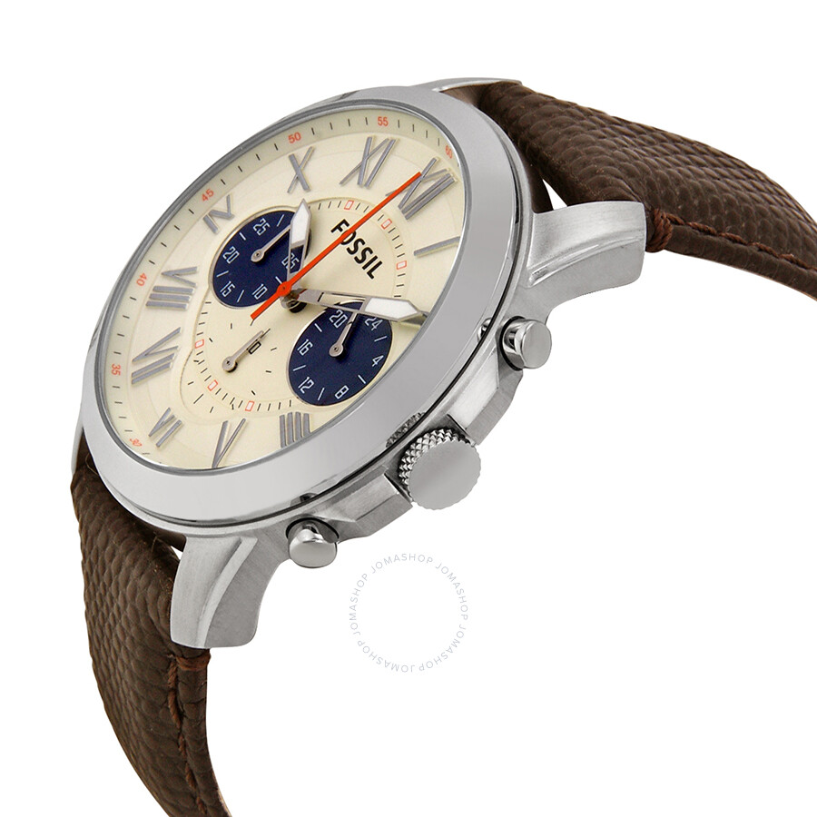 fossil grant chronograph white dial brown leather men 39 s. Black Bedroom Furniture Sets. Home Design Ideas