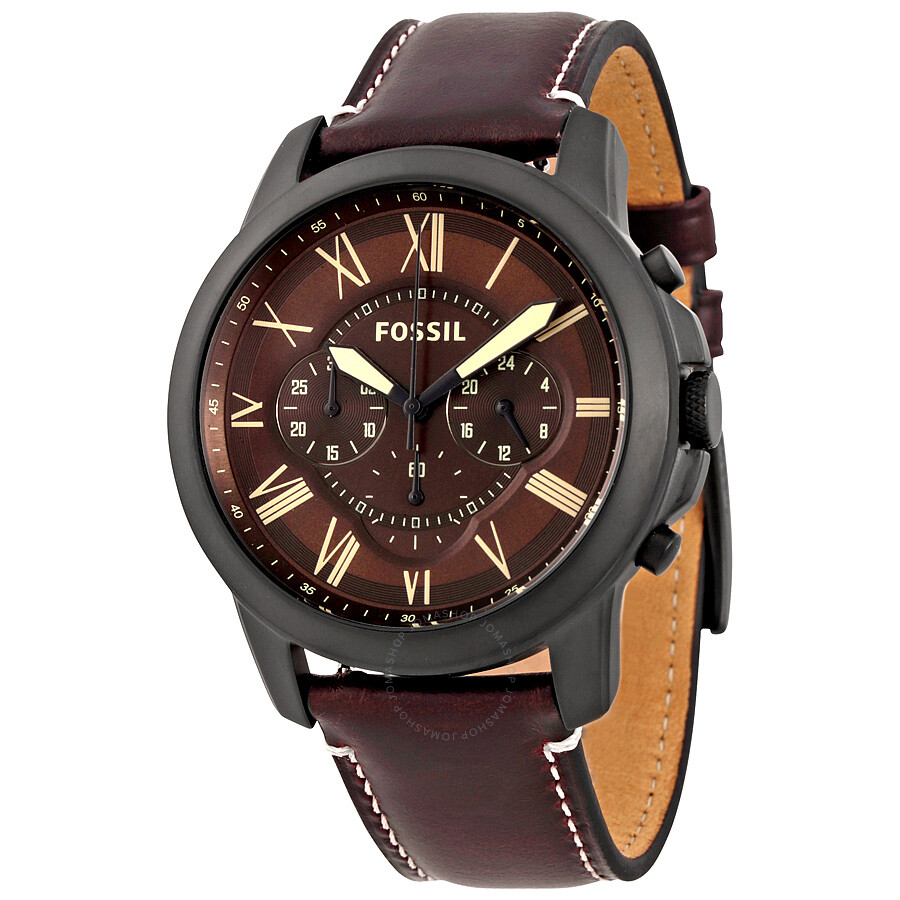 Leather Gmbh Contact Us Email Sales Mail: Fossil Grant Dark Brown Chronograph Leather Men's Watch