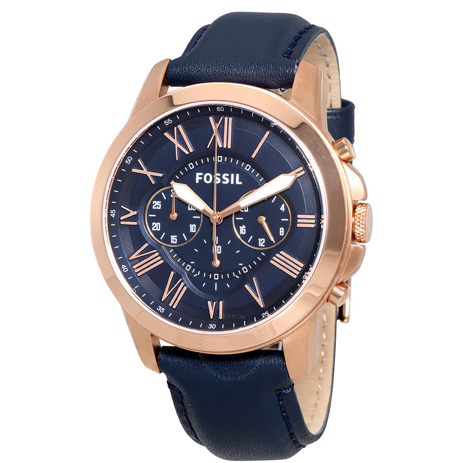 fossil grant multi function navy dial navy leather men 39 s watch fs4835 grant fossil watches