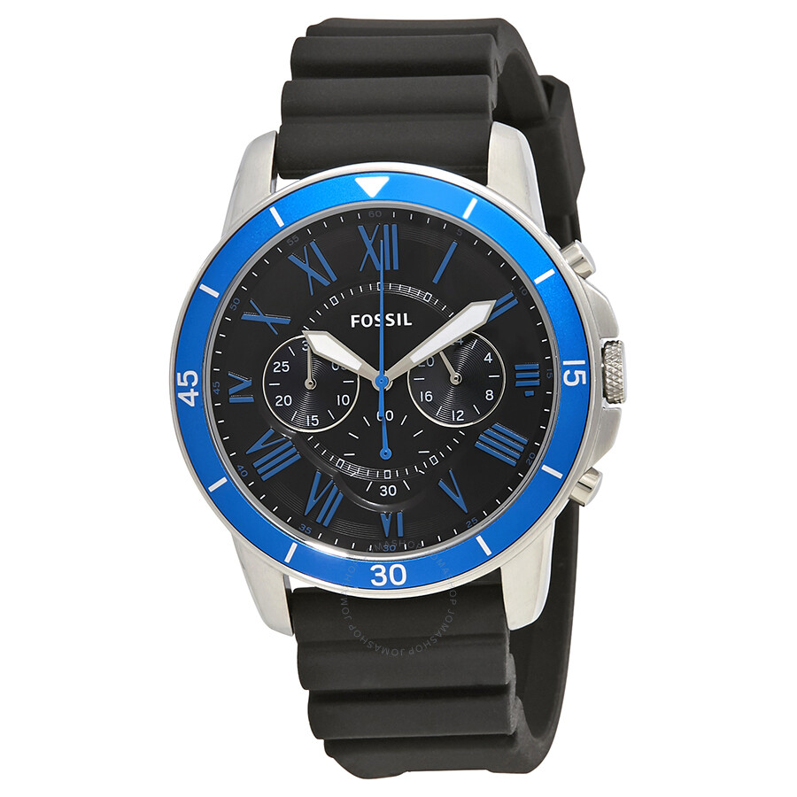 fossil grant sport chronograph black s