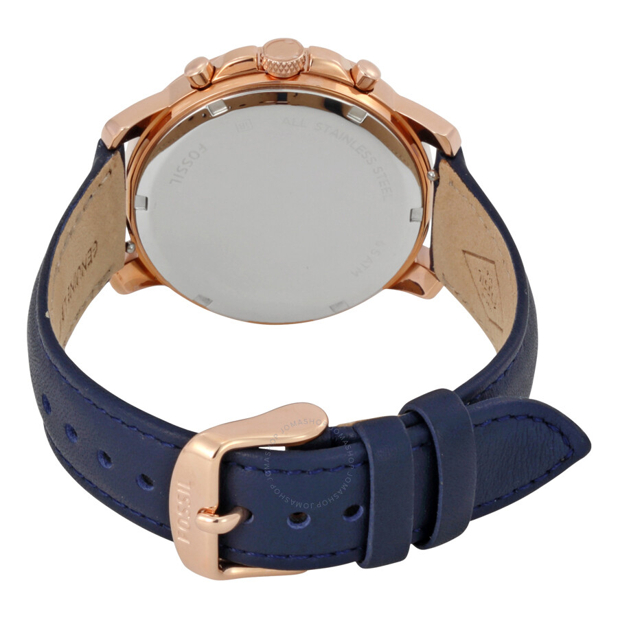 Fossil Gwynn Blue Leather Strap Chronograph Gotteamdesigns Jam Tangan Wanita Original Es4051 Tailor Indigo Dyed Ladies Watch Es4040