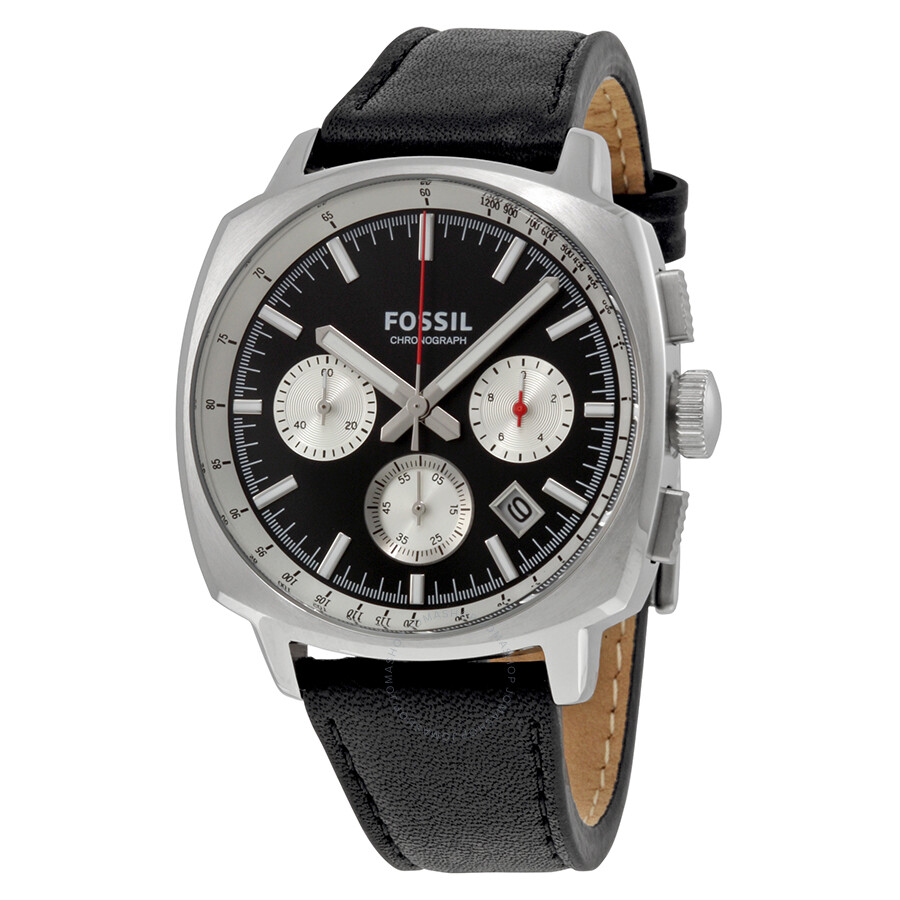 Fossil Haywood Chronograph Black and Silver Dial Black ...