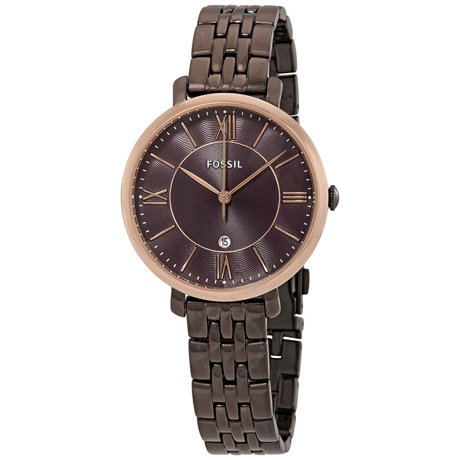 fossil jacqueline brown dial ladies watch es4275