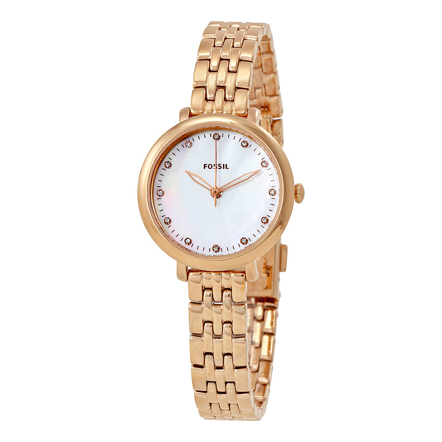 Mini Mother Gold Rose Dial Fossil Jacqueline Of Es4031 Pearl Watch Ladies j54RLc3qA