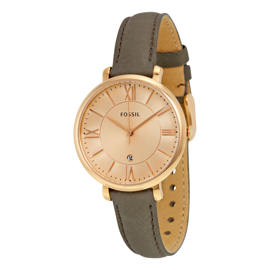 40f5bfbfd Fossil Jacqueline Rose Dial Grey Leather Strap Ladies Watch ES3707 ...