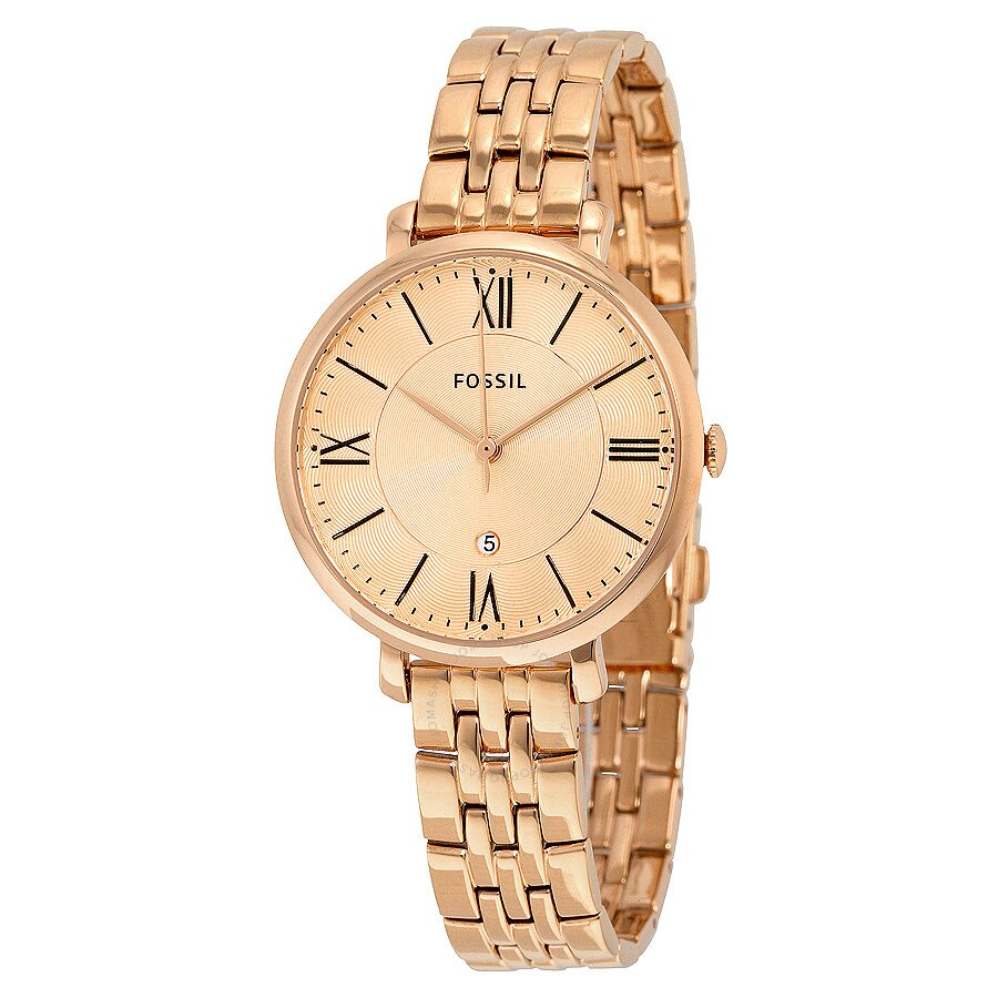 fossil jacqueline rose dial rose gold tone ladies watch es3435 jacqueline fossil watches. Black Bedroom Furniture Sets. Home Design Ideas
