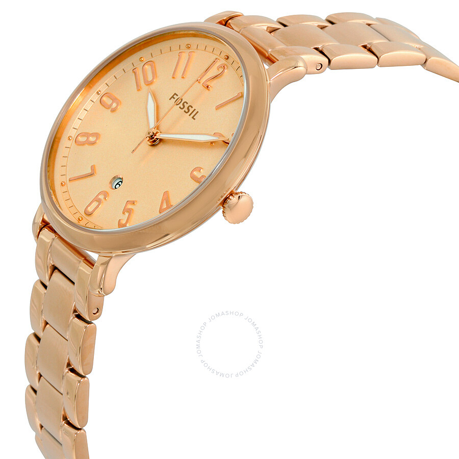 fossil jacqueline rose gold dial ladies casual watch. Black Bedroom Furniture Sets. Home Design Ideas