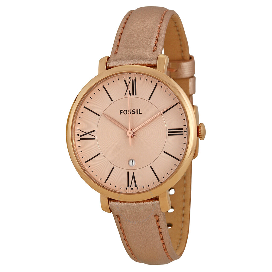 f8f7d7ee3 Fossil Jacqueline Rose Gold-tone Dial Leather Strap Ladies Watch ES3438 ...