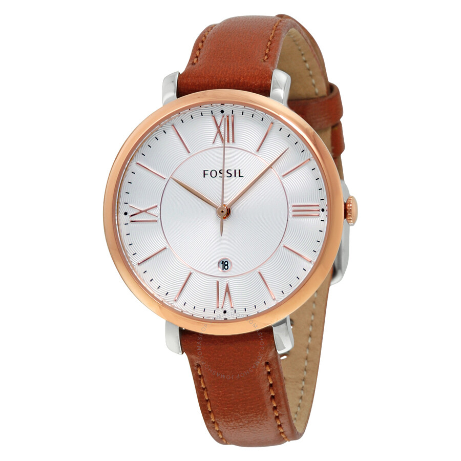 921310bd6 Fossil Jacqueline Silver Dial Brown Leather Ladies Watch ES3842 ...