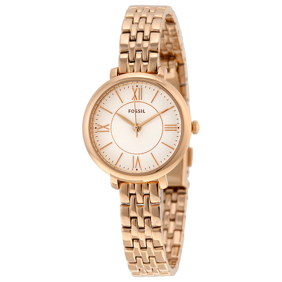 Fossil Jacqueline Silver Dial Rose Gold-tone Ladies Watch ...