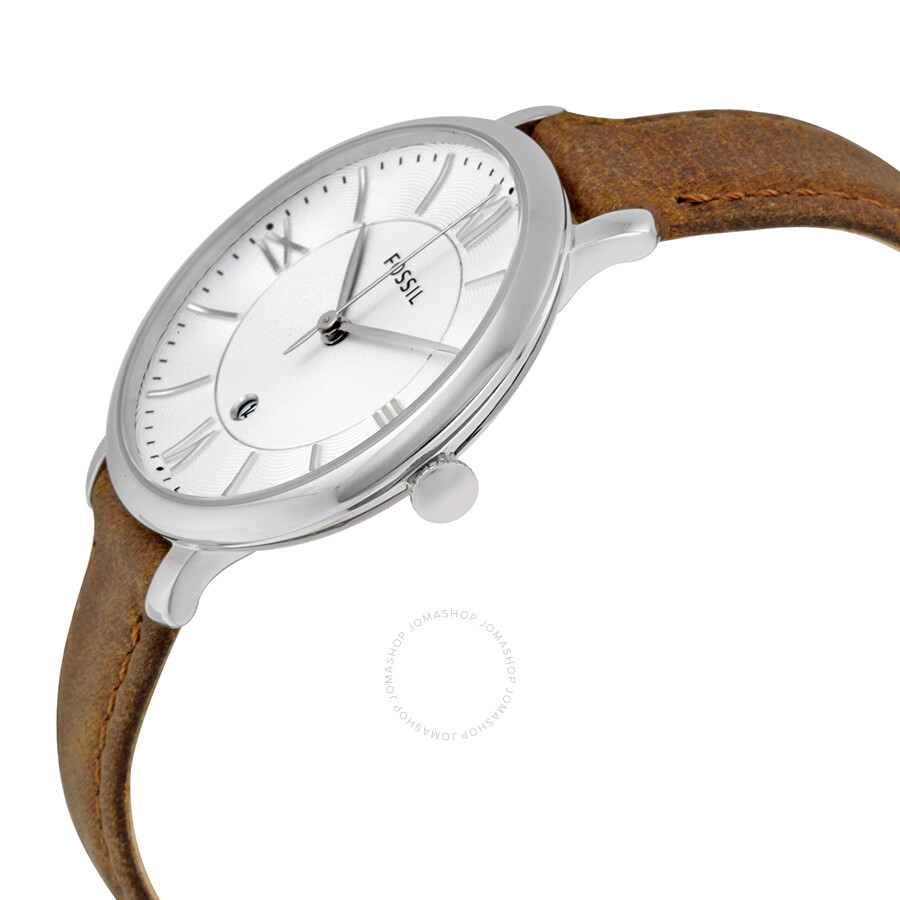 Leather Gmbh Contact Us Email Sales Mail: Fossil Jacqueline Silver Dial Tan Leather Strap Ladies