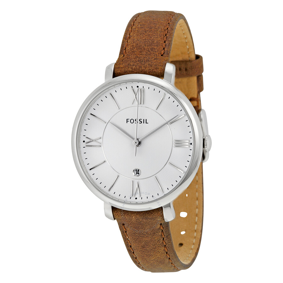 fossil jacqueline silver dial tan leather strap ladies watch es3708 jacqueline fossil