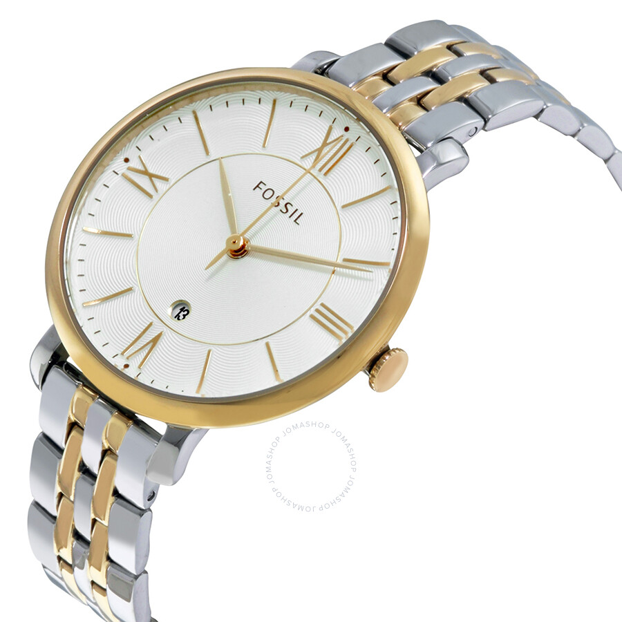 0944d499ce01 ... Fossil Jacqueline Silver Dial Two Tone Stainless Steel Ladies Watch  ES3739 ...