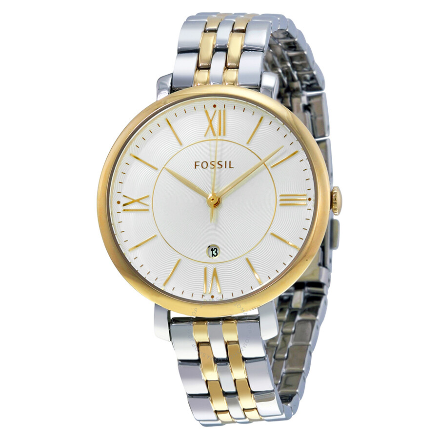 fossil jacqueline silver two tone stainless steel