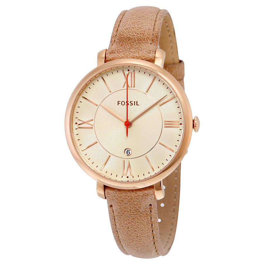 fossil jacqueline white dial camel leather strap ladies watch es3487 jacqueline fossil