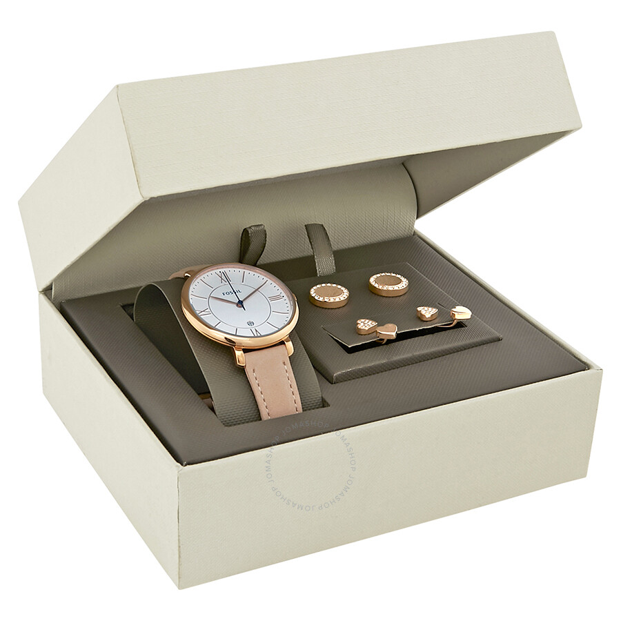 Fossil jacqueline white dial ladies watch gift set es4202set negle Image collections