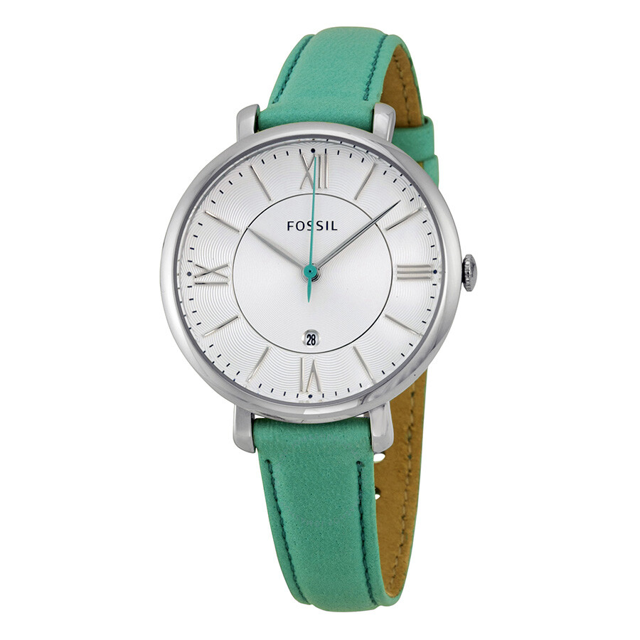 d49db7f56 Fossil Jacqueline White Dial Teal Leather Strap Ladies Watch ES3796 ...
