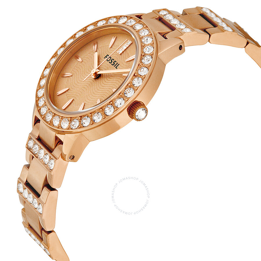 fossil jesse crystal rose gold dial ladies watch es3020 jesse fossil watches jomashop. Black Bedroom Furniture Sets. Home Design Ideas