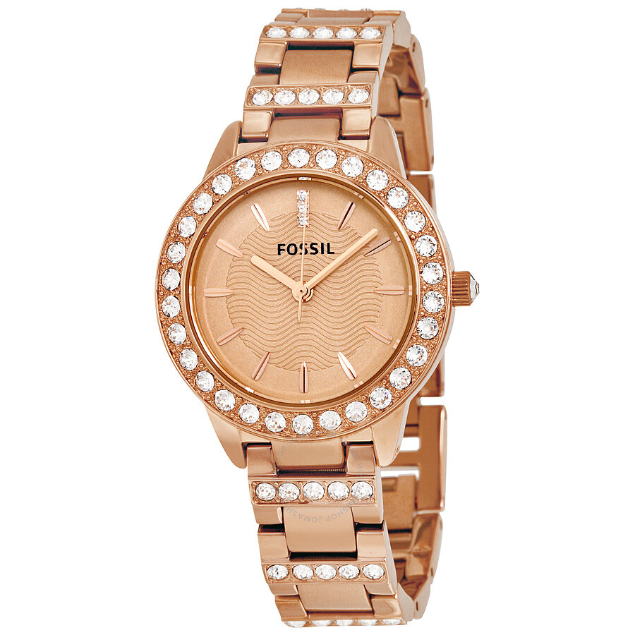 5249fafce53 Fossil Jesse Crystal Rose Gold Dial Ladies Watch ES3020 - Jesse ...
