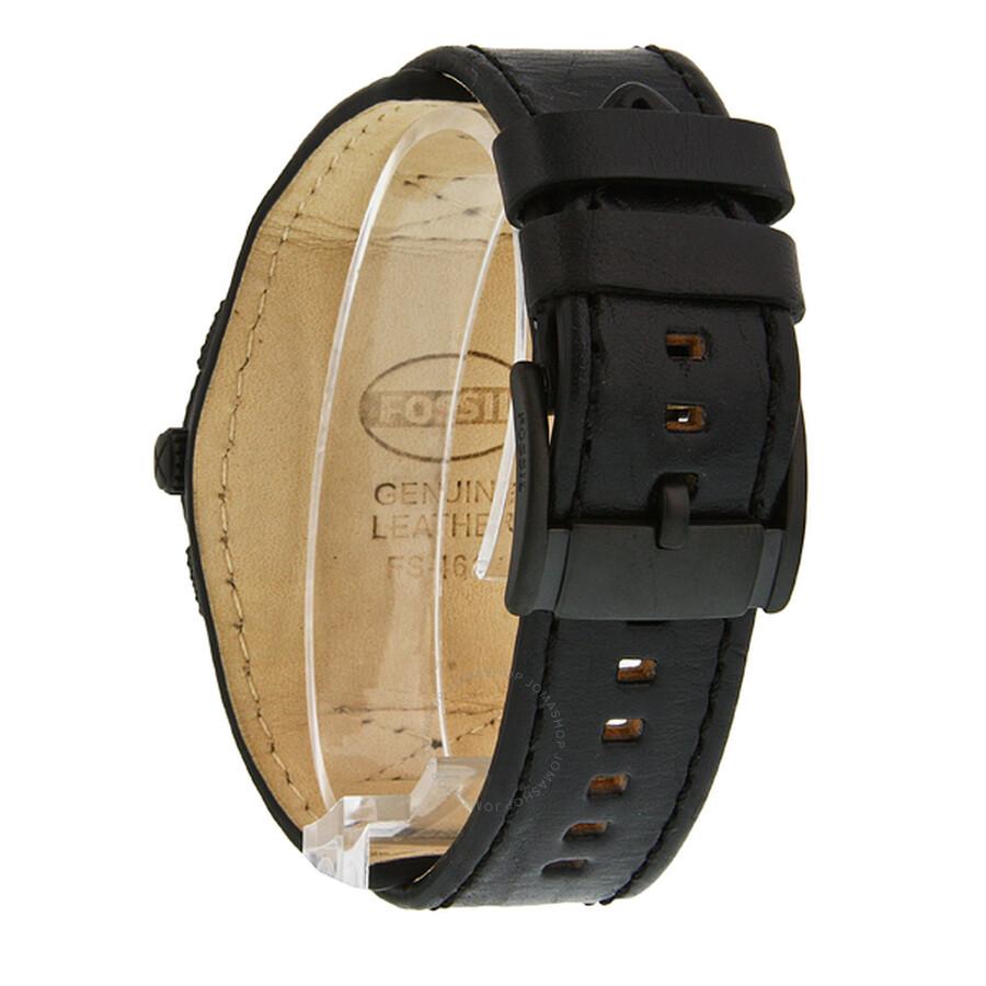 fossil machine cuff leather black