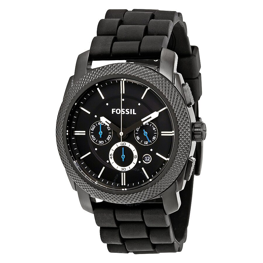 Fossil Machine Chronograph Black Dial Black Silicone Men s Watch FS4487 ... 3bdf13eb787