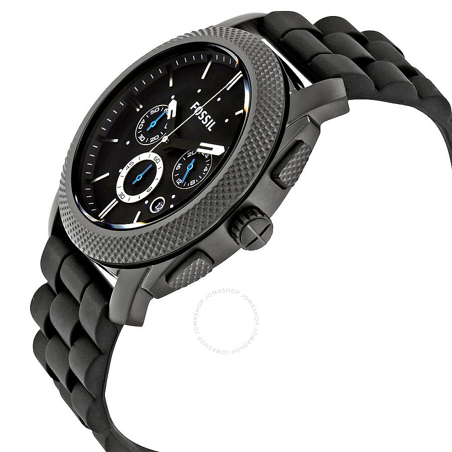 957076e8503 ... Fossil Machine Chronograph Black Dial Black Silicone Men s Watch FS4487  ...