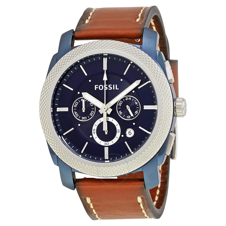 Fossil machine chronograph blue dial men 39 s watch fs5232 machine fossil watches jomashop for Fossil watches