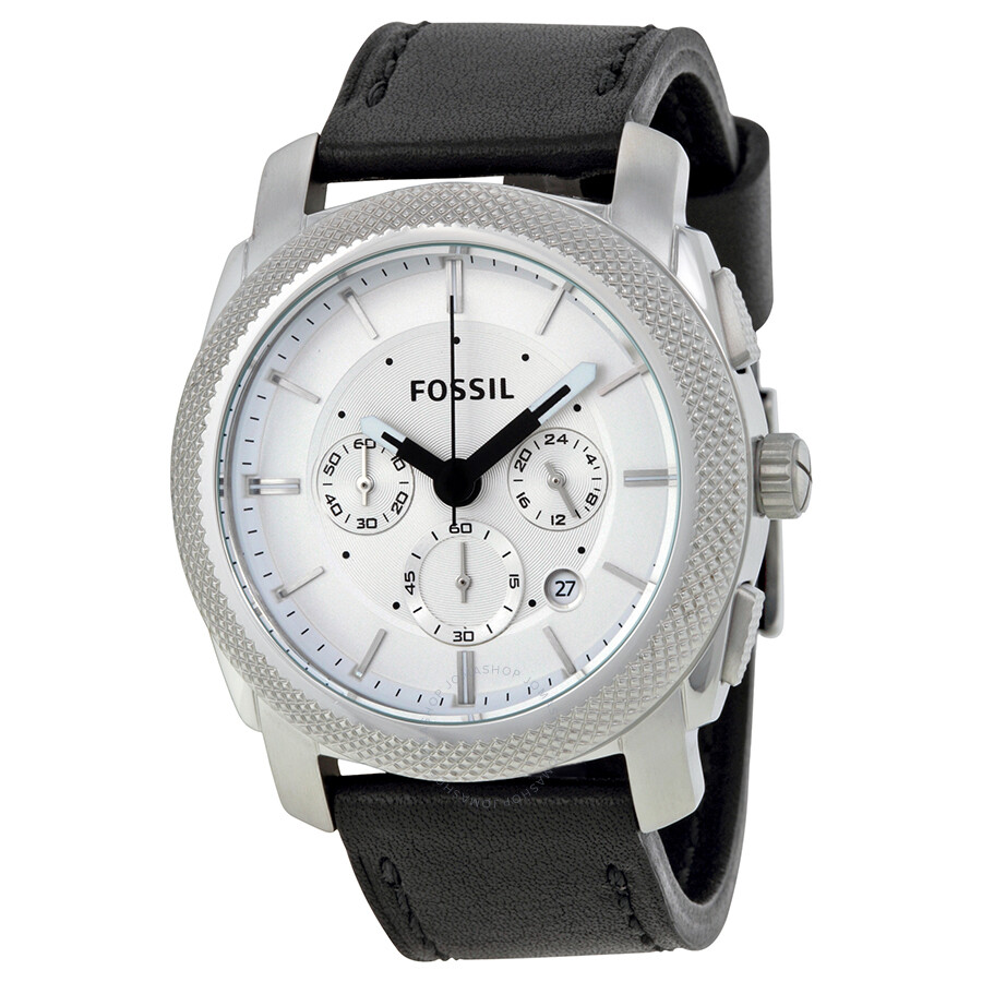 fossil machine chronograph white dial black leather men 39 s. Black Bedroom Furniture Sets. Home Design Ideas