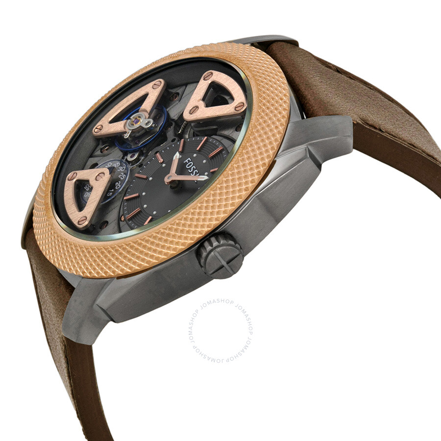 fossil mechnical charcoal dial rose gold tone men 39 s watch me1122 mechnical fossil watches. Black Bedroom Furniture Sets. Home Design Ideas