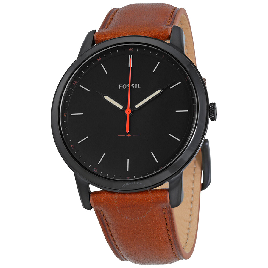 9fee33e9f6e1 Fossil Minimalist Black Dial Brown Leather Men s Watch FS5305 ...