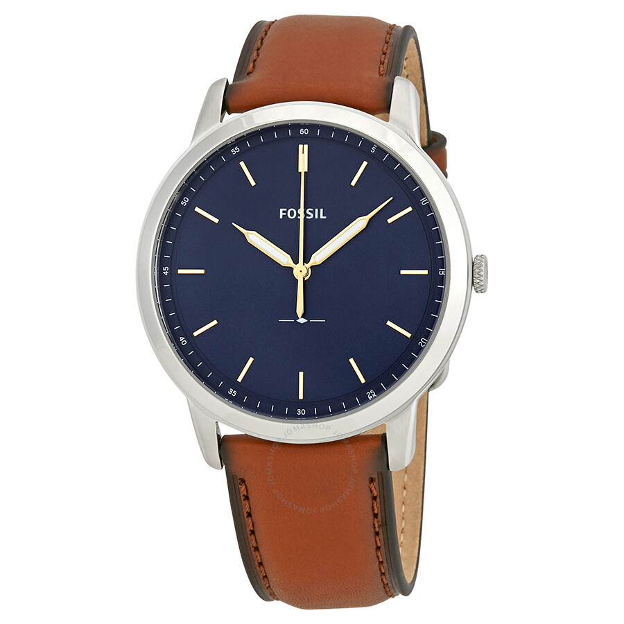 b45a9010d76b Fossil Minimalist Blue Dial Brown Leather Men s Watch FS5304 ...