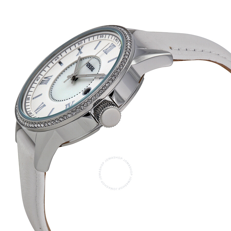 Fossil mother of pearl dial white leather ladies watch bq1109 fossil watches jomashop for Mother of pearl dial watch