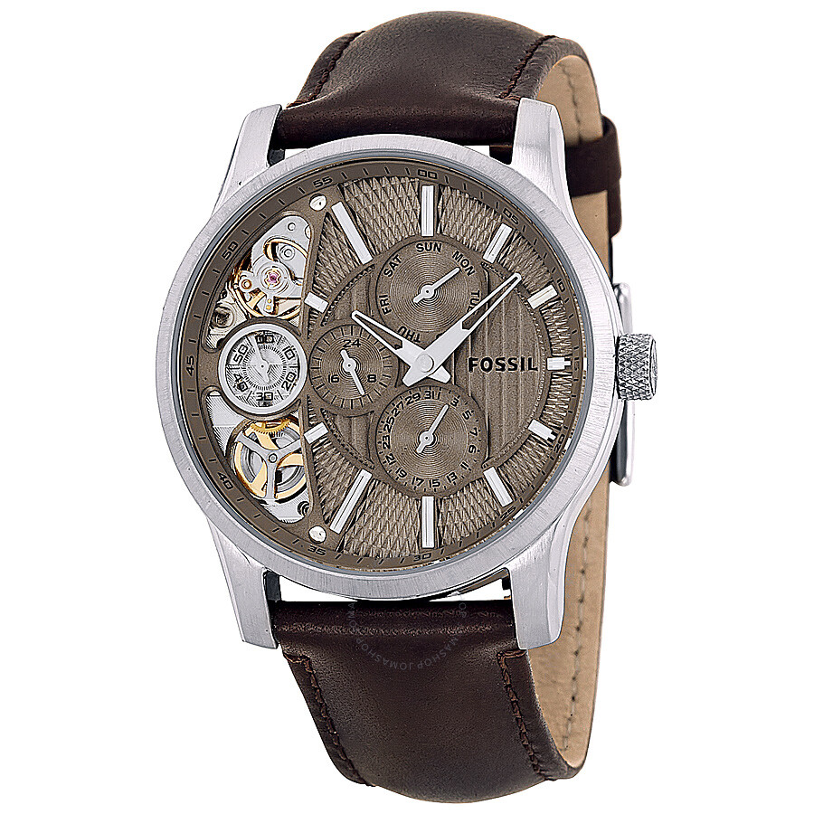 fossil multi function twist taupe cut away dial brown leather fossil multi function twist taupe cut away dial brown leather men s watch me1098