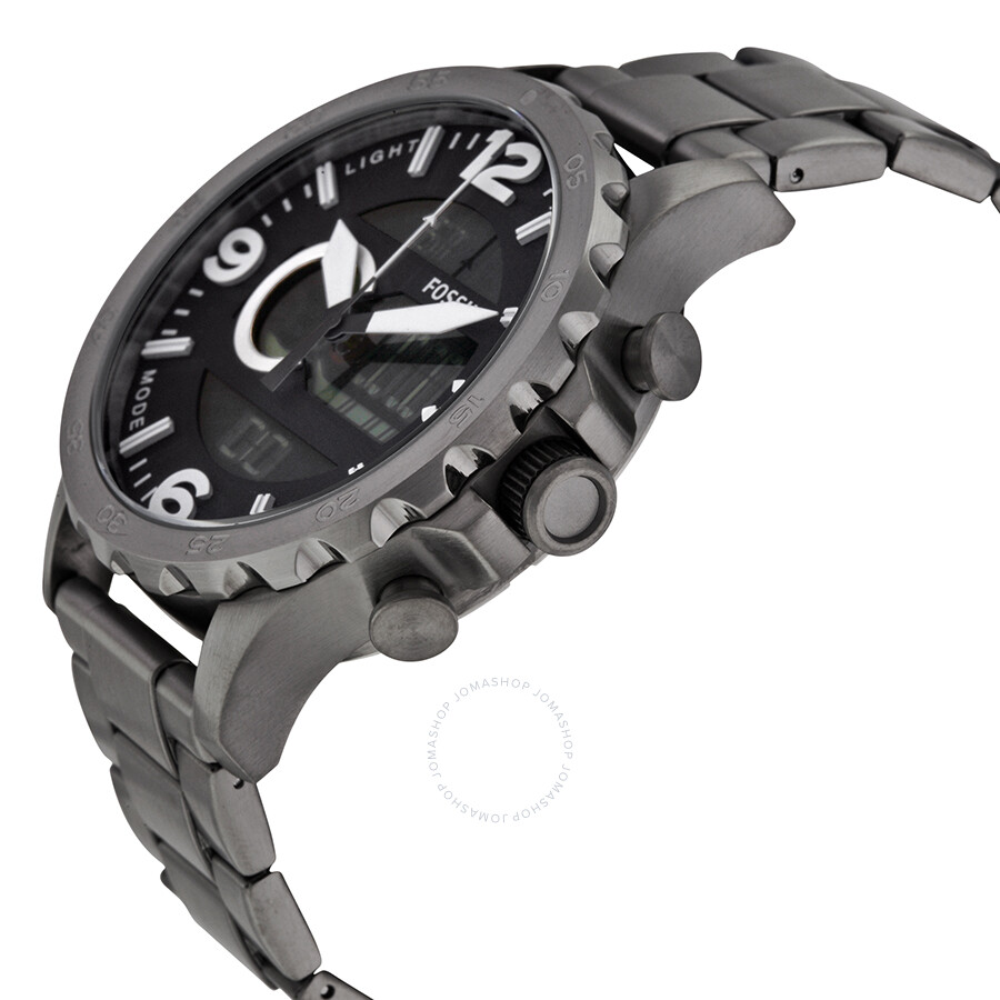 3fcb9023968a ... Fossil Nate Black Dial Smoke-tone Stainless Steel Men s Watch JR1491 ...