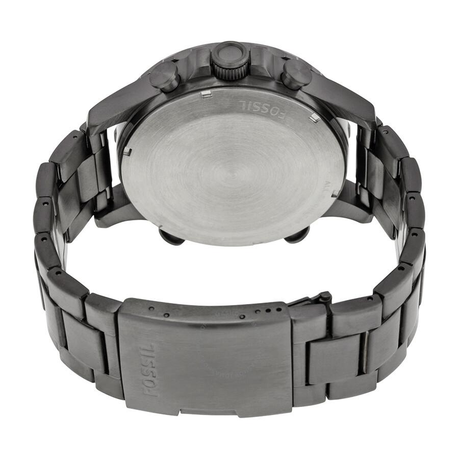 e9d746b058b4 Fossil Nate Black Dial Smoke-tone Stainless Steel Men s Watch JR1491 ...