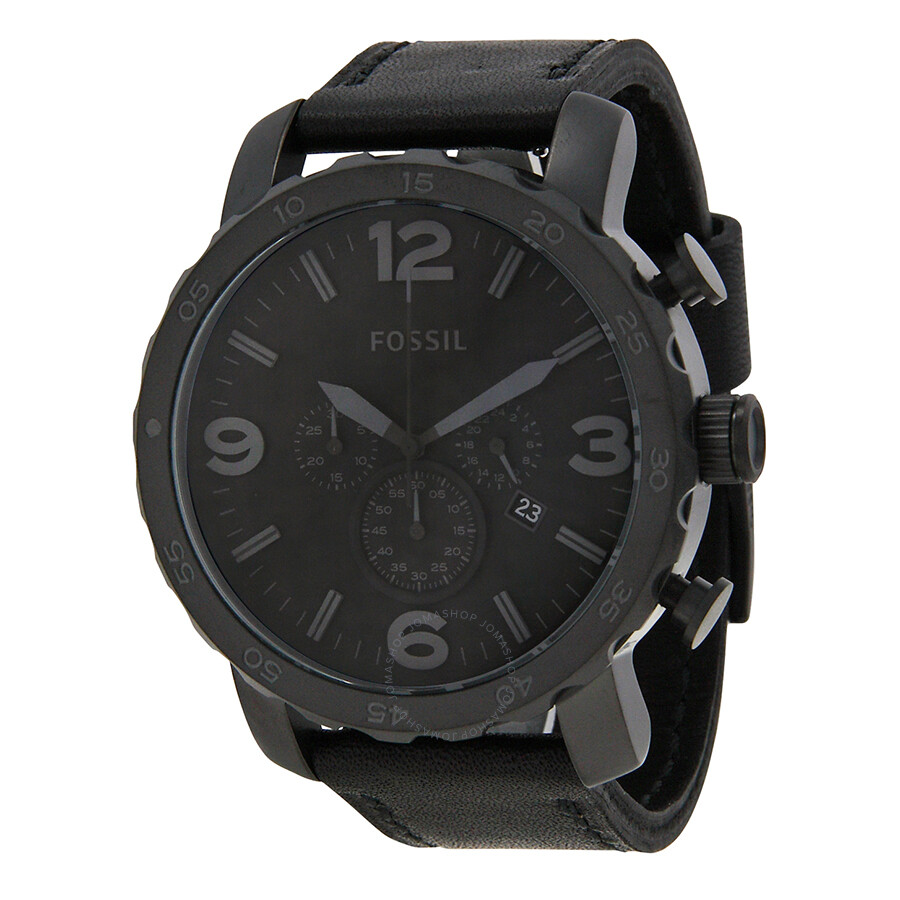 Fossil Nate Chronograph Black Dial Black Ion-plated Men s Watch JR1354 ... 50672c1d38a