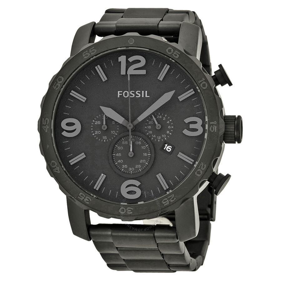 Fossil nate chronograph black dial black ion plated men 39 s watch jr1401 nate fossil watches for Fossil watches