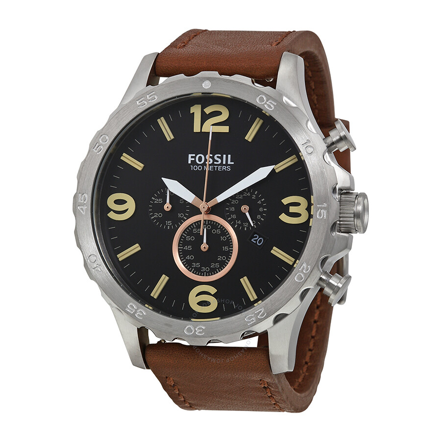 fossil nate chronograph black dial brown leather men 39 s. Black Bedroom Furniture Sets. Home Design Ideas
