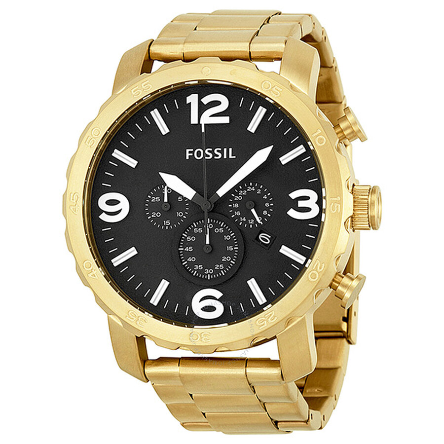 fossil nate chronograph black gold tone s
